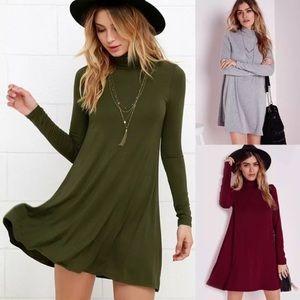 Dresses & Skirts - Army Green Turtleneck Dress Long Sleeve
